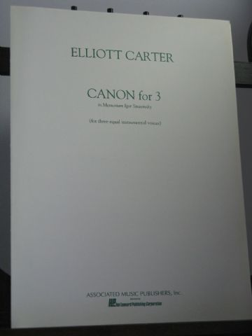 Carter E - Canon for 3 in Memoriam Igor Stravinsky